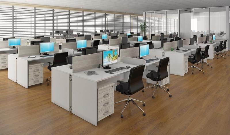 Mesa para Escritório de Madeira Jardim Rossin - Mesa para Escritório em L com Gavetas