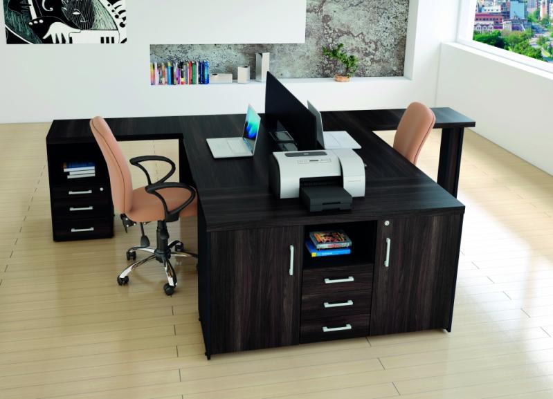 Mesa para Escritório em L com Gavetas Preço ABCD - Mesas para Escritório