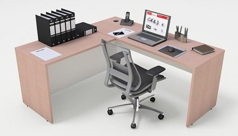 Onde Encontrar Mesa em L para Escritório Branca em Diadema - Fabricante de Mesa em L