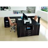 mesa para escritório em l com gavetas preço Jardim Nova Esperança