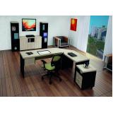 mesas para escritório em l com gavetas na Aclimação